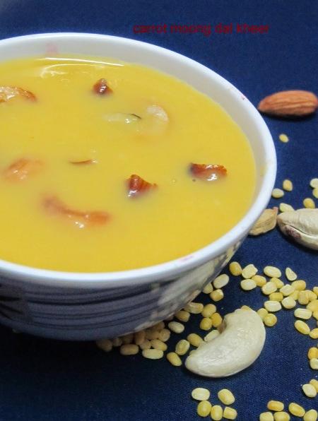 Carrot Moong Dal Kheer/Carrot Pesara Payasam-how to prepare Carrot Moong Dal Kheer
