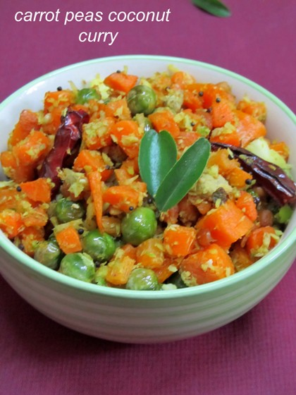 Carrot Green Peas Coconut Fry Curry / Carrot Matter Coconut Curry / Carrot Pachi Batani Kobbari Kura