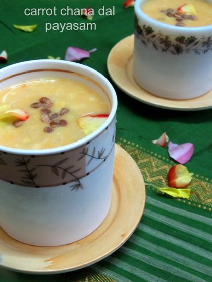 Carrot Chana Dal Kheer / Carrot Bengal Gram Payasam - Payasam Recipes