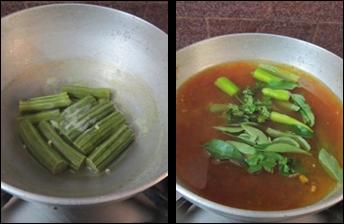 Drumstick Urad Dal Fryums Stew / Munakkaya Minapa Vadiyalu Pulusu