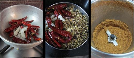 Kootu Powder / Home Made Kootu Powder - How to make Spicy Kootu Powder