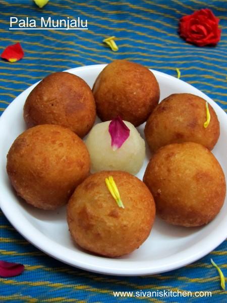 Pala Munjalu / Pala Munjalu with Suji Halwa Stuffing  - how to make Andhra Special Pala Munjalu