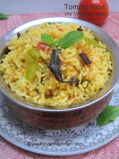 Tomato Rice Recipe / Tomato Rice without Onion and Garlic