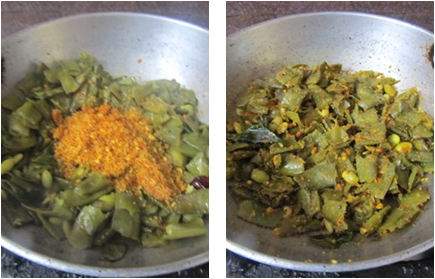 Chikkudukaya Nuvvula Podi Kura / Indian Broad Beans Curry with Sesame Powder