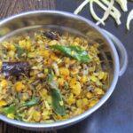 Arati Puvvu Kandipappu Podi Kura / Banana Flower Toor Dal Fry / Vazhaipoo Dry Curry