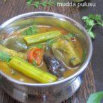 Vankaya Munakkaya Mudda Pulusu / Brinjal and Drumstick Thick Tamarind Stew